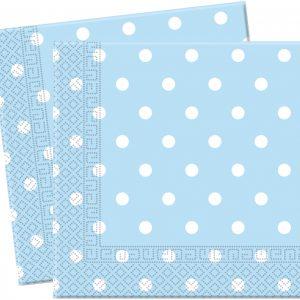 Χαρτοπετσέτες 33x33 εκ. γαλάζιες πουά