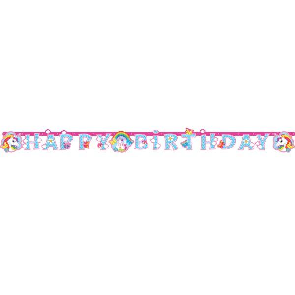 Γιρλάντα Happy Birthday Μονόκερος ροζ 1τεμ.