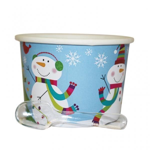 Κυπελάκια με κουταλάκι Joylful Snowman 12τεμ.