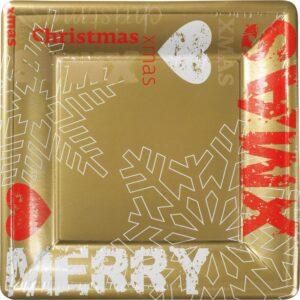 Πιάτα φαγητού τετράγωνα 24x24εκ. Metal Christmas