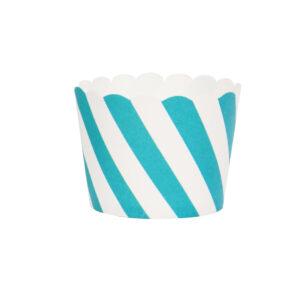Θήκες Cupcakes Ριγέ, Πράσινο Νερού, 25τεμ.