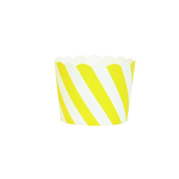 Θήκες Cupcakes Ριγέ, Κίτρινες, 25τεμ.