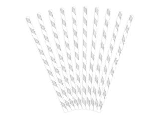 Καλαμάκια χάρτινα λευκά με ασημί ρίγες