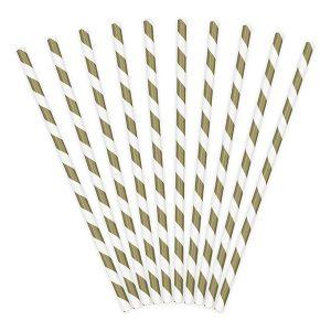 Καλαμάκια χάρτινα λευκά με χρυσές ρίγες
