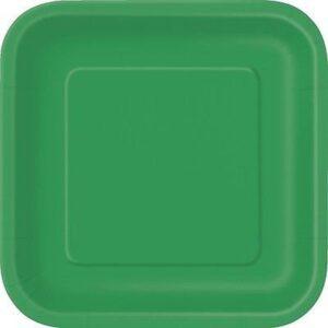 Πιάτα φαγητού τετράγωνα 23εκ. πράσινο σκούρο μονόχρωμα 14τεμ